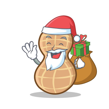Santa with gift peanut character cartoon style vector illustration Vettoriali