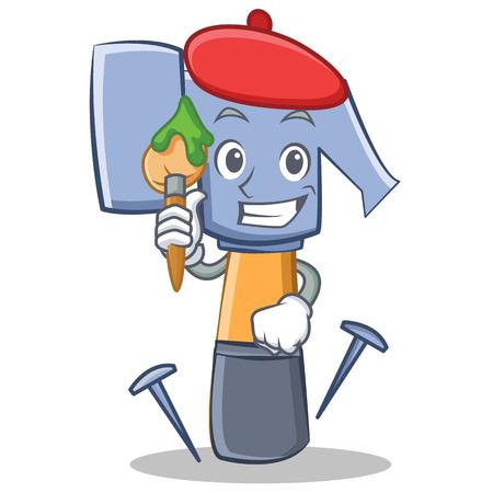 carpentry cartoon: Artist hammer character cartoon emoticon illustration Illustration