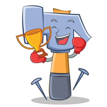 carpentry cartoon: Boxing winner hammer character cartoon emoticon vector illustration