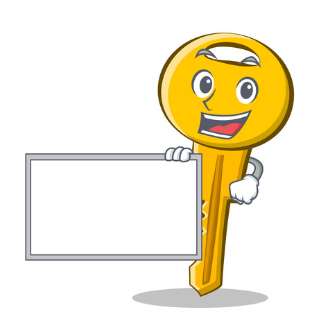 With board key character cartoon style vector illustration Illustration