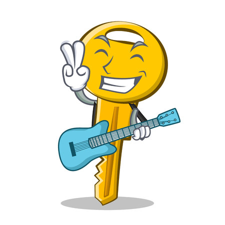 With guitar key character cartoon style vector illustration. Illustration