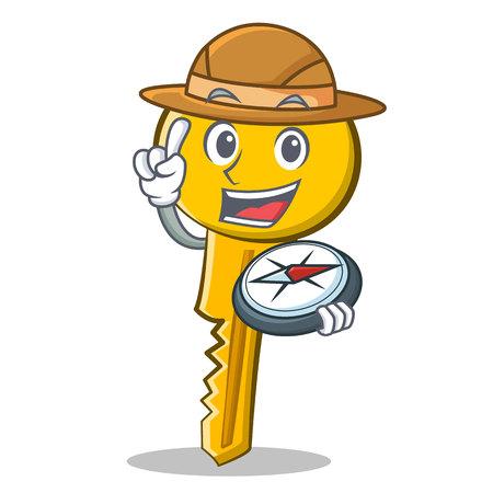 Explorer key character cartoon style vector illustration.