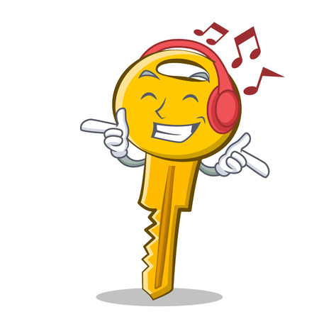 Listening music key character cartoon style vector illustration. Illustration