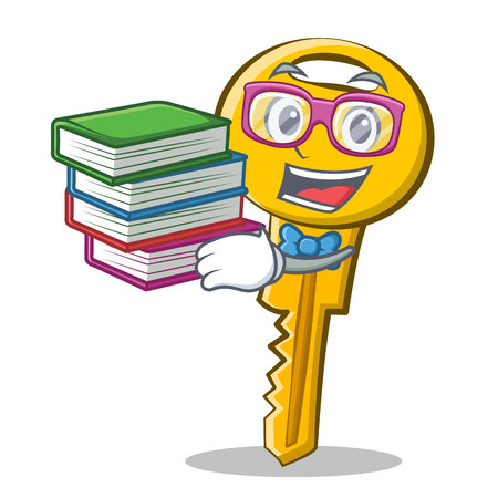 Student with book key character cartoon style vector illustration