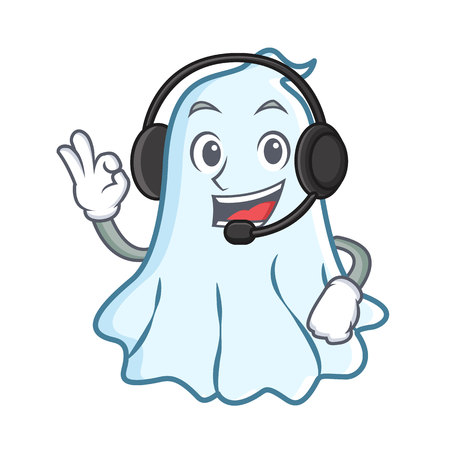 With headphone cute ghost character cartoon vector illustration