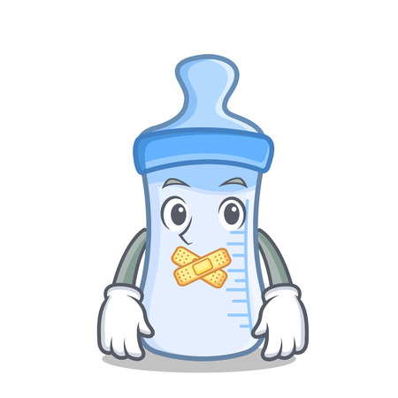 Silent baby bottle character cartoon vector illustration Illustration