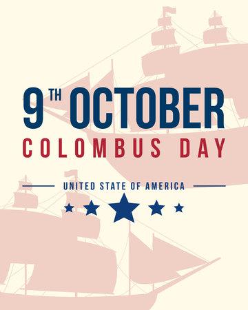 Happy Columbus Day banner diseño ilustración vectorial Foto de archivo - 86153964