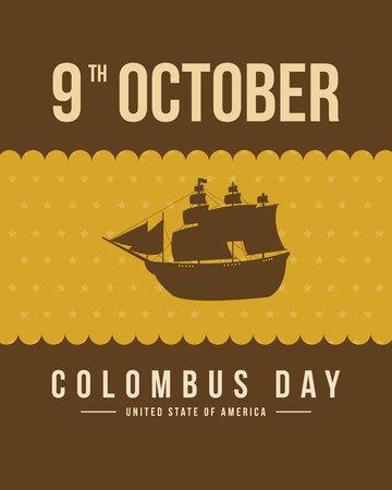 Ilustración de vector de diseño de fondo de tarjeta de día de Colón Foto de archivo - 86153970