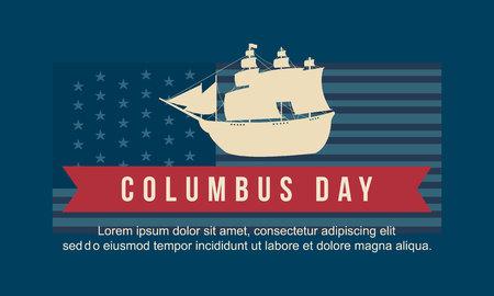 Día de Columbus en la ilustración de vector de fondo azul Foto de archivo - 86153976
