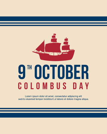 Happy Columbus Day celebration design banner vector illustration