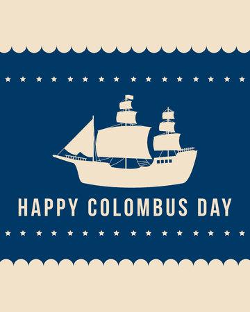 Banner de diseño de celebración Happy Columbus Day Foto de archivo - 86153990