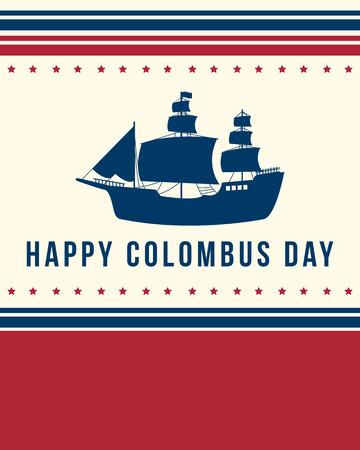 Happy Columbus Day banner diseño ilustración vectorial Foto de archivo - 86153999