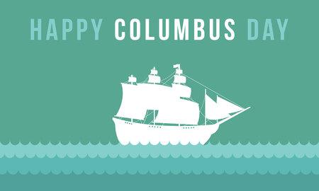 幸せなコロンブス カード スタイルの背景ベクトル イラスト