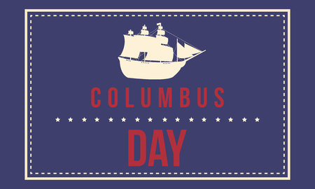 Columbus day greeting card background vector illustration