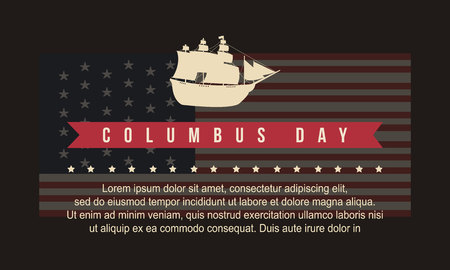 Background for Columbus Day vector art illustration Stock Photo