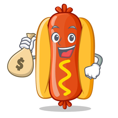 With Money Bag Hot Dog Cartoon Character