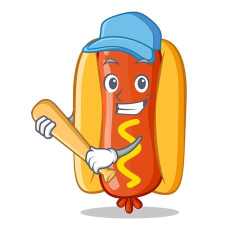 Playing Baseball Hot Dog Cartoon Character 向量圖像