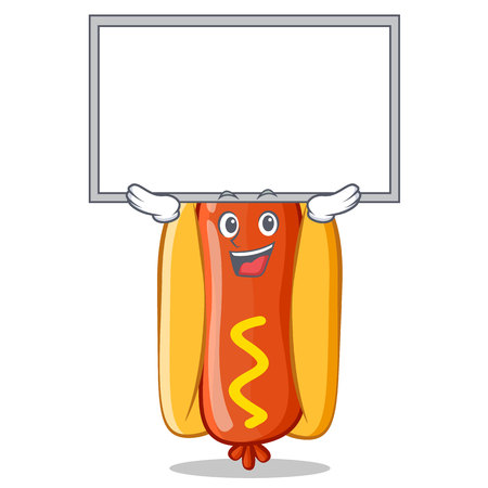 frank: Up Board Hot Dog Cartoon Character Vector Illustration