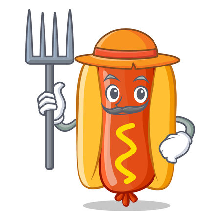 Landwirt Hot Dog Cartoon Charakter-Vektor-Illustration Standard-Bild - 86154057