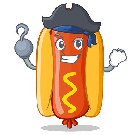 Pirate Hot Dog Cartoon Character Vector Illustration
