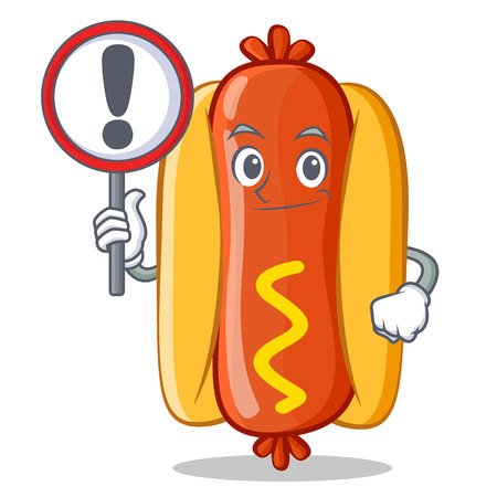 With sign Hot Dog Cartoon Character 向量圖像