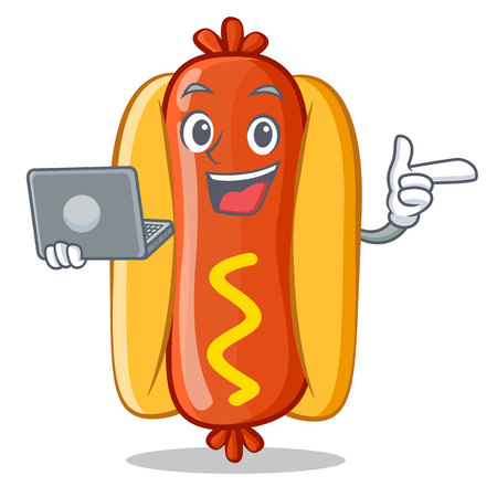 With Laptop Hot Dog Cartoon Character