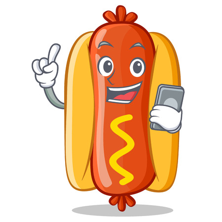 phone: With Phone Hot Dog Cartoon Character