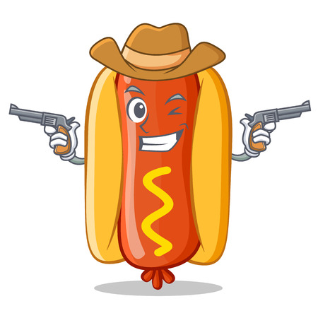 Cowboy Hot Dog Cartoon Character