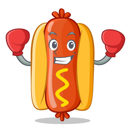 Boxing Hot Dog Cartoon Character Иллюстрация