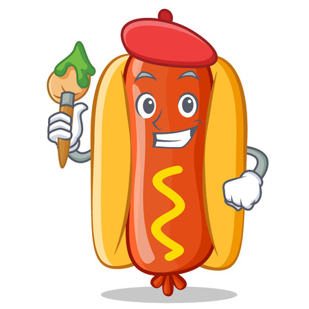 Artist Hot Dog Cartoon Character