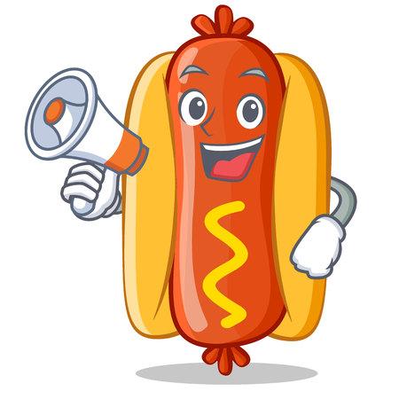 Hot Dog with megaphone Cartoon Character Vector Illustration