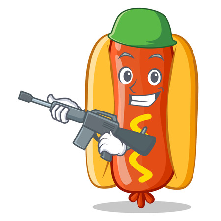 frank: Army Hot Dog Cartoon Character