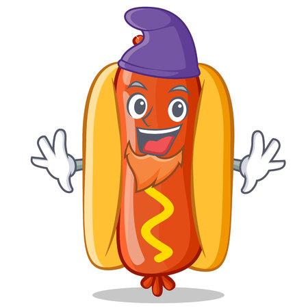 Elf Hot Dog Cartoon Character
