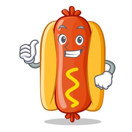 Thumbs Up Hot Dog Cartoon Character