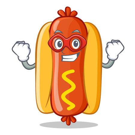 Super Hero Hot Dog Cartoon Character