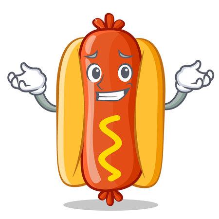 Grinning Hot Dog Cartoon Character Vector Illustration