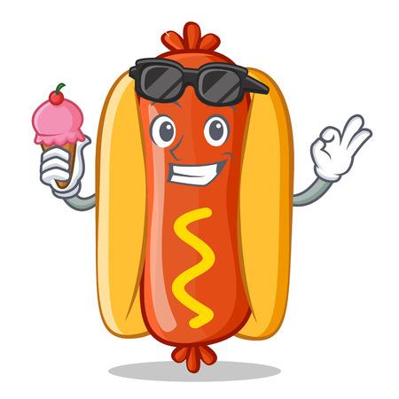 Hot Dog with Ice Cream Cartoon Character Vector Illustration 向量圖像