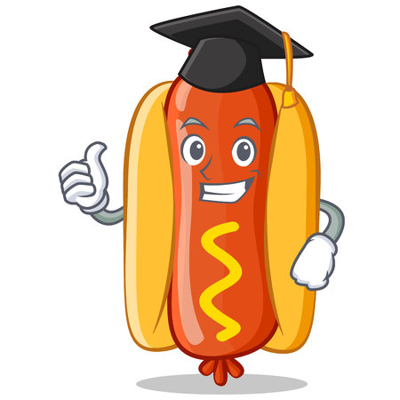 Graduation Hot Dog Cartoon Character Vector Illustration