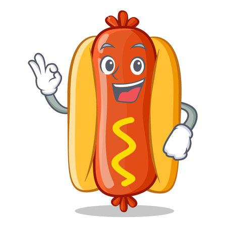 Hot Dog with okay sign Cartoon Character Vector Illustration