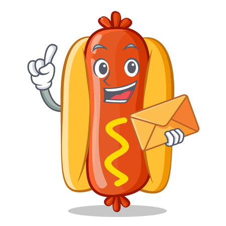 With Envelope Hot Dog Cartoon Character