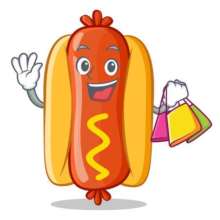 Shopping Hot Dog Cartoon Character