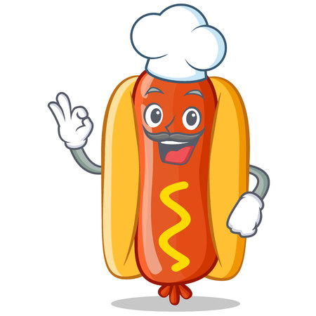 Chef Hot Dog Cartoon Character