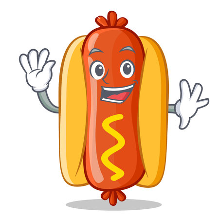 frank: Waving Hot Dog Cartoon Character Vector Illustration