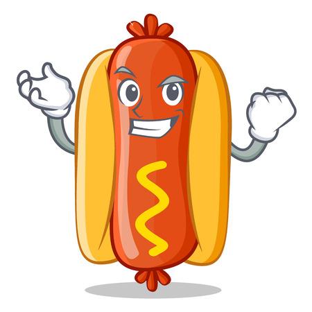 Successful Hot Dog Cartoon Character Vector Illustration 向量圖像