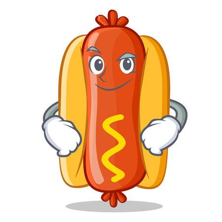 Smirking Hot Dog Cartoon Character Vector Illustration