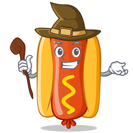 Witch Hot Dog Cartoon Character
