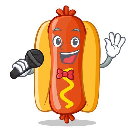 Singing Hot Dog Cartoon Character 向量圖像