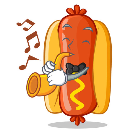 With Trumpet Hot Dog Cartoon Character