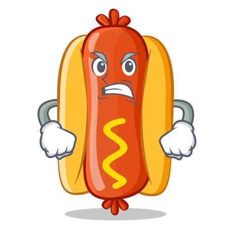 Angry Hot Dog Cartoon Character