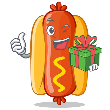 With Gift Hot Dog Cartoon Character 向量圖像